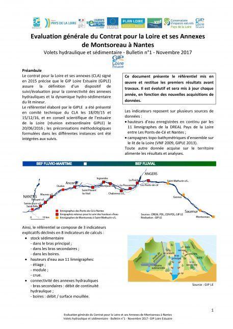 Bulletin n°1 de l'évaluation générale du Contrat pour la Loire et ses Annexes (Volets hydraulique et sédimentaire)