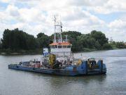 """Drague """"le Milouin"""" équipée du système à injection d'eau depuis 2011 et utilisée pour les dragages d'entretien dans l'estuaire de la Loire"""